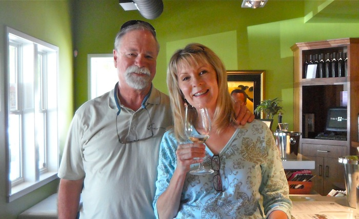 Mike and Pam - Wine tasting - Cabernet - wine teeth!