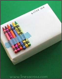 Crayon gift wrap idea